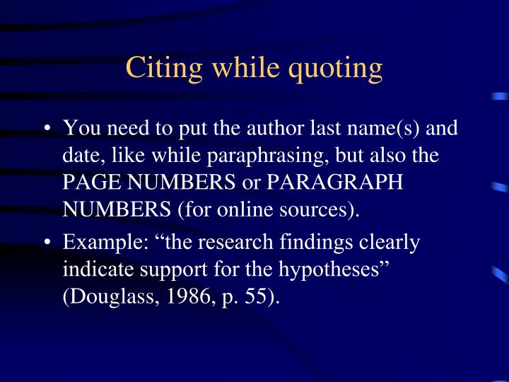 Citing while quoting