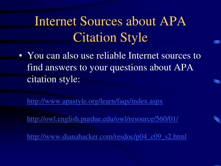 Internet Sources about APA Citation Style