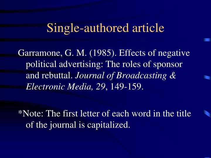 Single-authored article