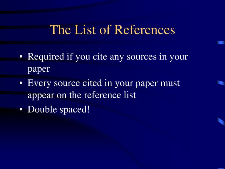 The List of References