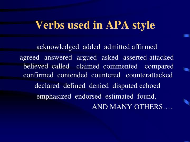Verbs used in APA style