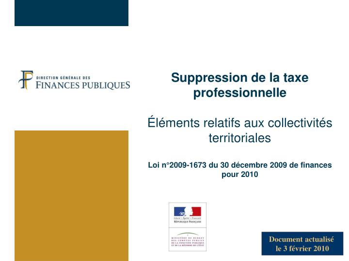 Suppression de la taxe professionnelle