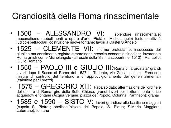 Grandiosità della Roma rinascimentale