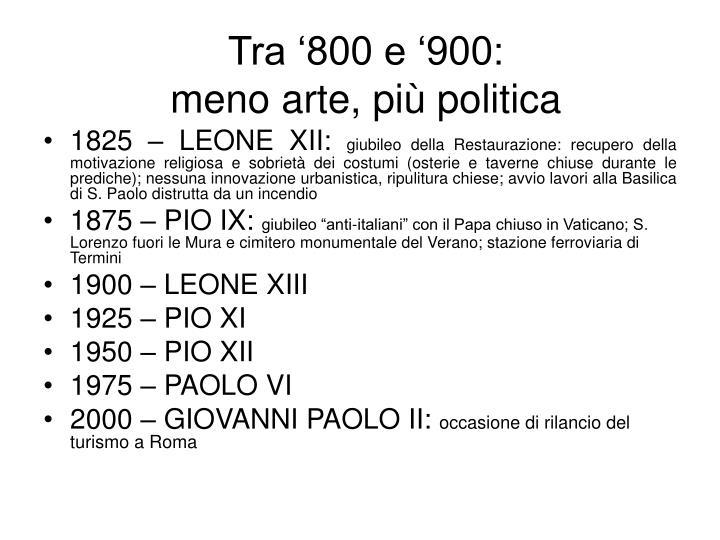 Tra '800 e '900: