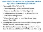 other federal child welfare law requirements affected by a parent or child s immigration status