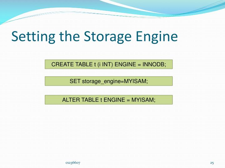 Setting the Storage Engine