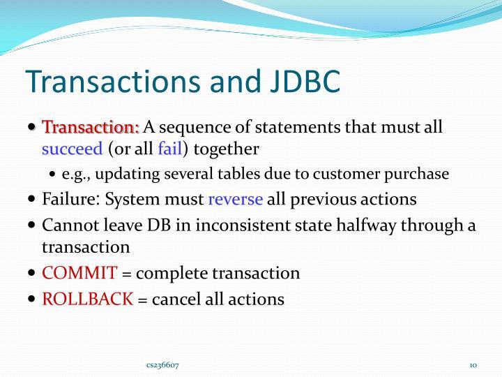 Transactions and JDBC