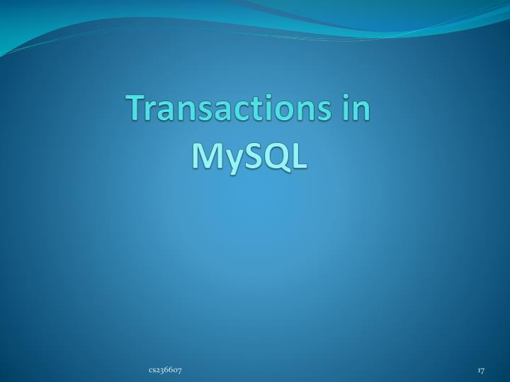 Transactions in