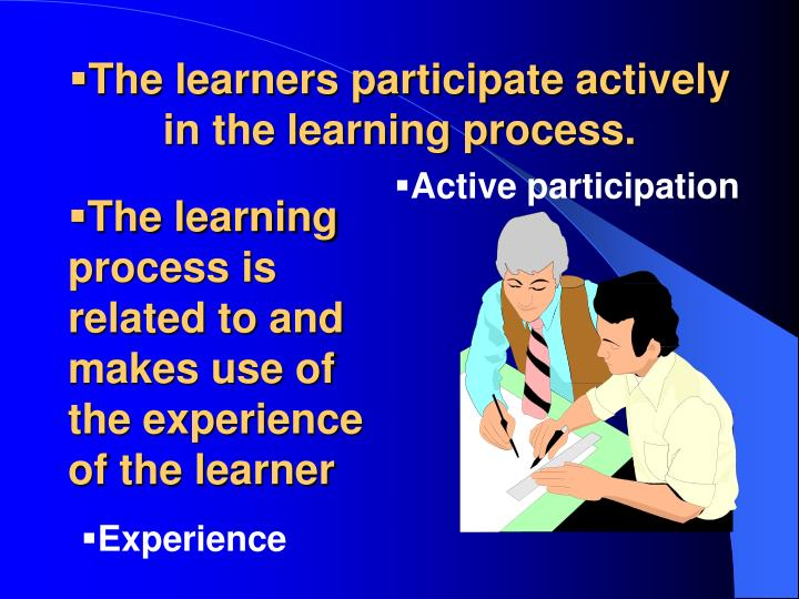 The learners participate actively in the learning process.