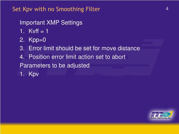 Set Kpv with no Smoothing Filter