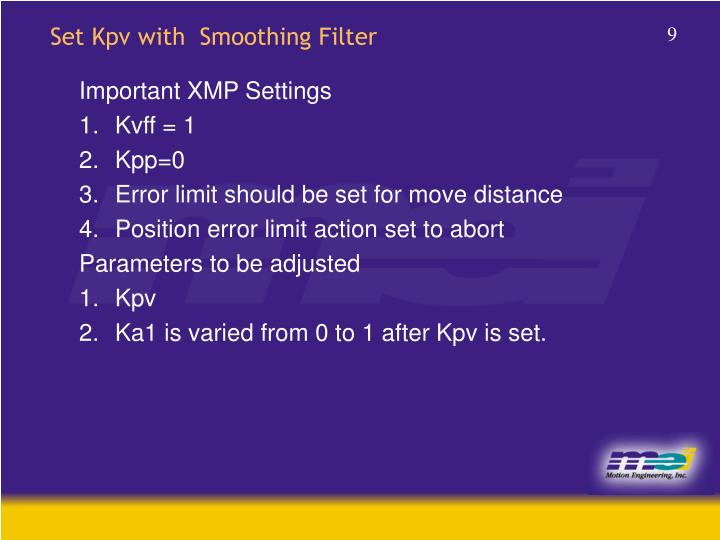 Set Kpv with  Smoothing Filter