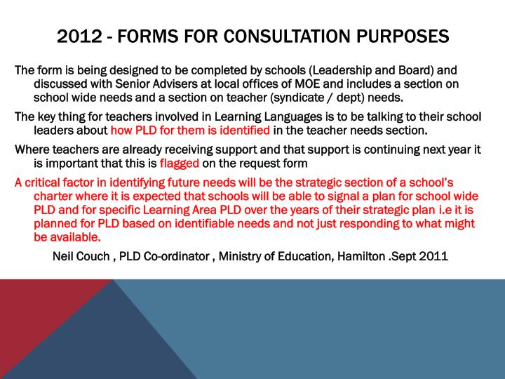 2012 - Forms for consultation purposes