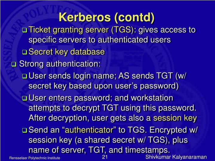 Kerberos (contd)