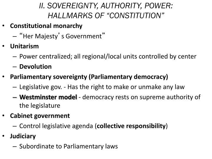 Ii sovereignty authority power hallmarks of constitution