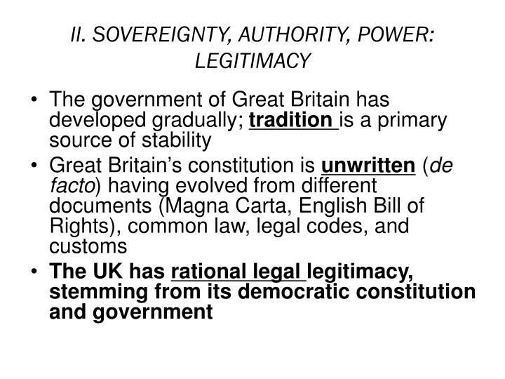 II. SOVEREIGNTY, AUTHORITY, POWER:
