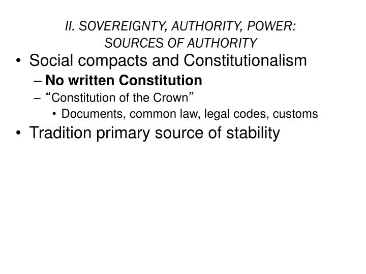 Ii sovereignty authority power sources of authority