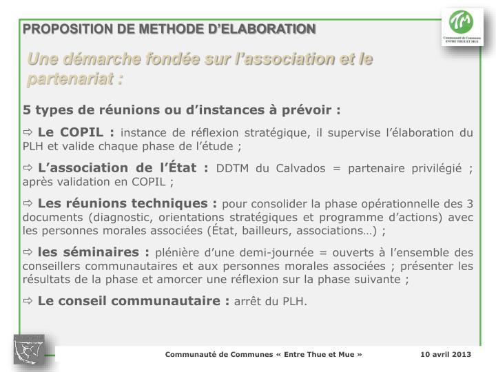 PROPOSITION DE METHODE D'ELABORATION