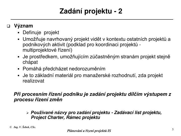Zadání projektu - 2