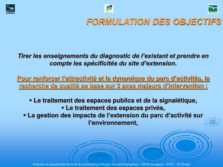 FORMULATION DES OBJECTIFS