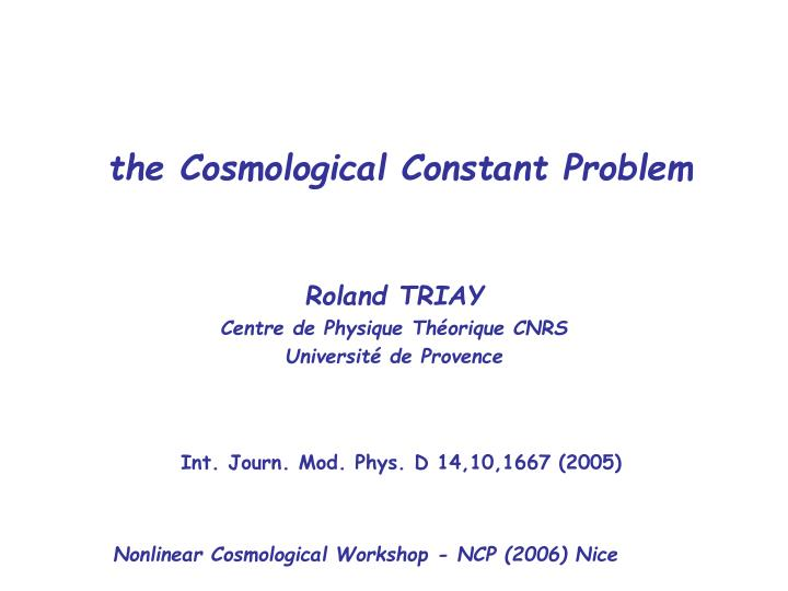 the cosmological constant problem n.
