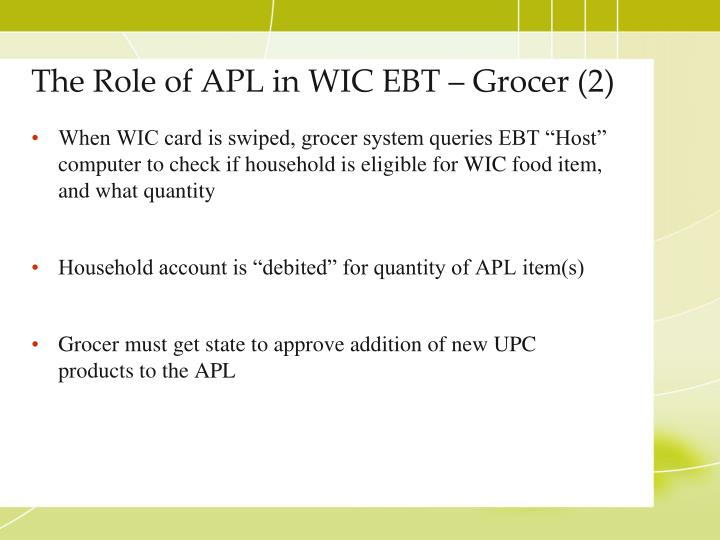 The Role of APL in WIC EBT – Grocer (2)