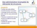 une administration incompl te du r f rentiel de structures