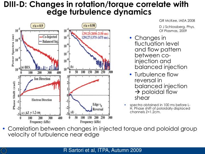 DIII-D: Changes in rotation/torque correlate with edge turbulence dynamics