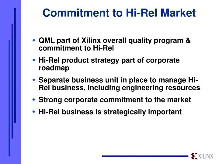 Commitment to Hi-Rel Market
