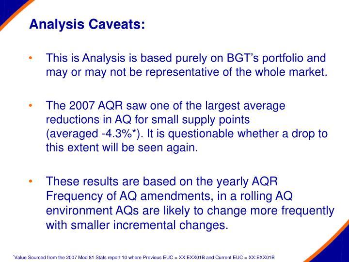 Analysis caveats