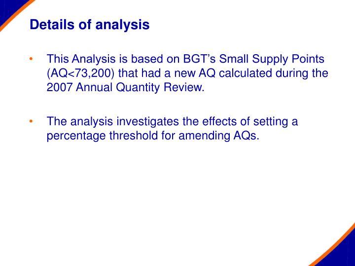 Details of analysis