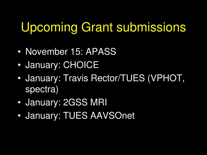 Upcoming Grant submissions