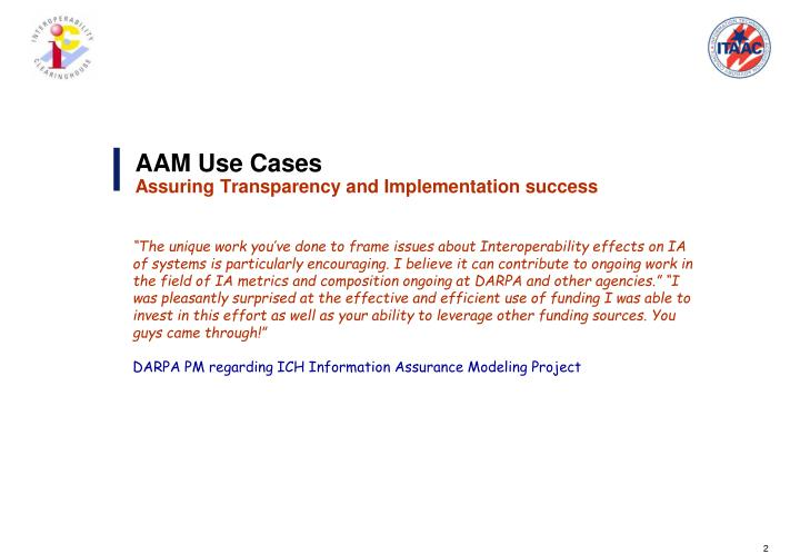 Aam use cases assuring transparency and implementation success