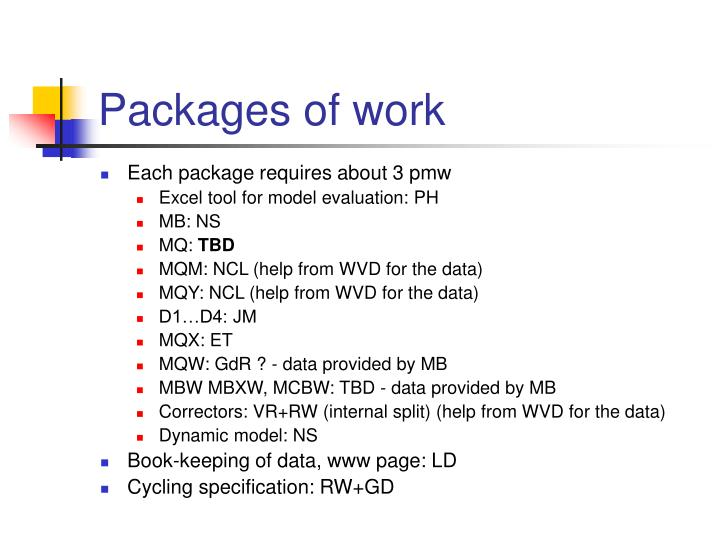 Packages of work