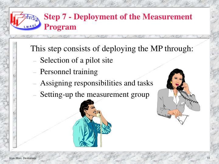 Step 7 - Deployment of the Measurement Program