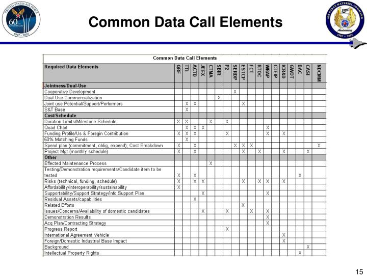 Common Data Call Elements