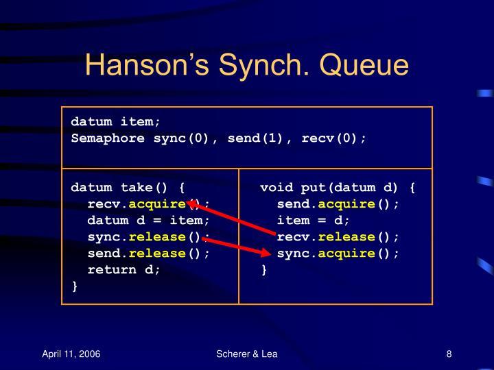 Hanson's Synch. Queue