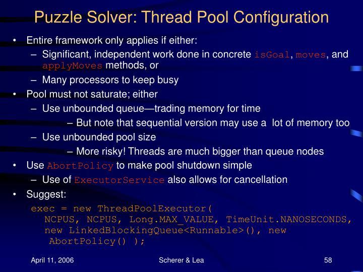 Puzzle Solver: Thread Pool Configuration