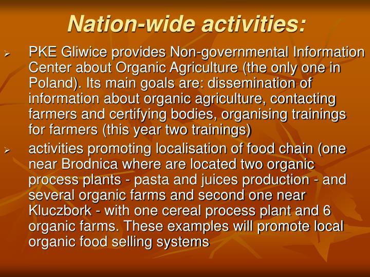 Nation-wide activities: