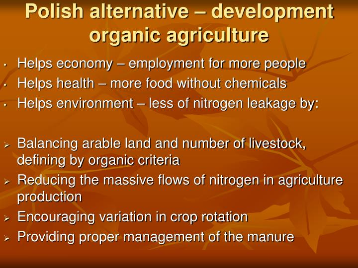 Polish alternative development organic agriculture