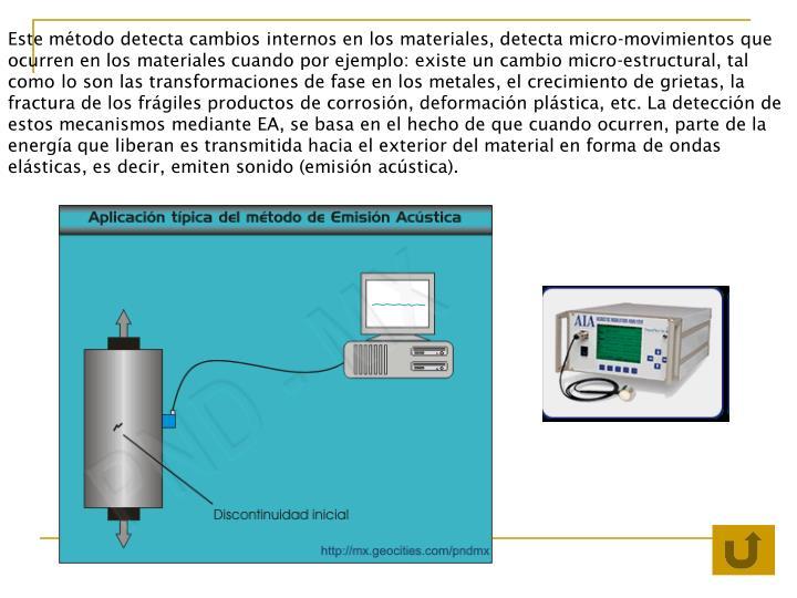 Este método detecta cambios internos en los materiales, detecta micro-movimientos que ocurren en los materiales cuando por ejemplo: existe un cambio micro-estructural, tal como lo son las transformaciones de fase en los metales, el crecimiento de grietas, la fractura de los frágiles productos de corrosión, deformación plástica, etc. La detección de estos mecanismos mediante EA, se basa en el hecho de que cuando ocurren, parte de la energía que liberan es transmitida hacia el exterior del material en forma de ondas elásticas, es decir, emiten sonido (emisión acústica).