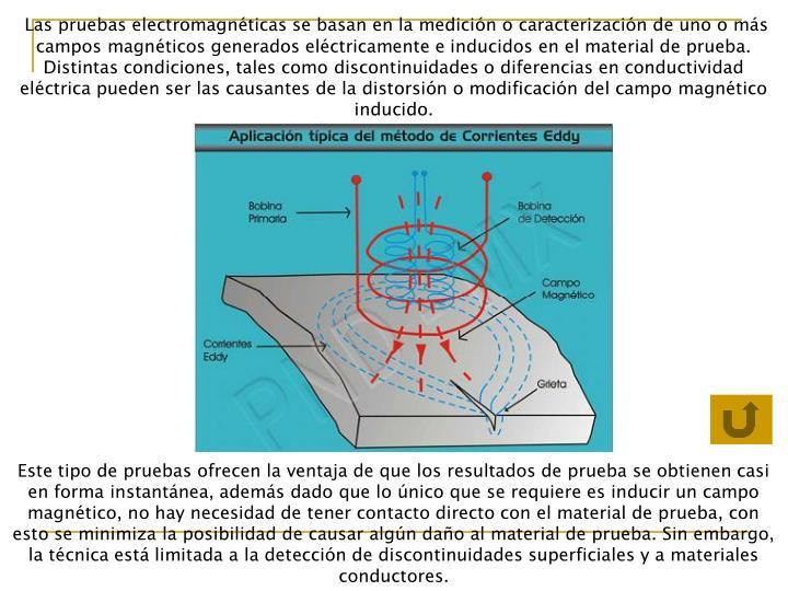 Las pruebas electromagnéticas se basan en la medición o caracterización de uno o más campos magnéticos generados eléctricamente e inducidos en el material de prueba. Distintas condiciones, tales como discontinuidades o diferencias en conductividad eléctrica pueden ser las causantes de la distorsión o modificación del campo magnético inducido.