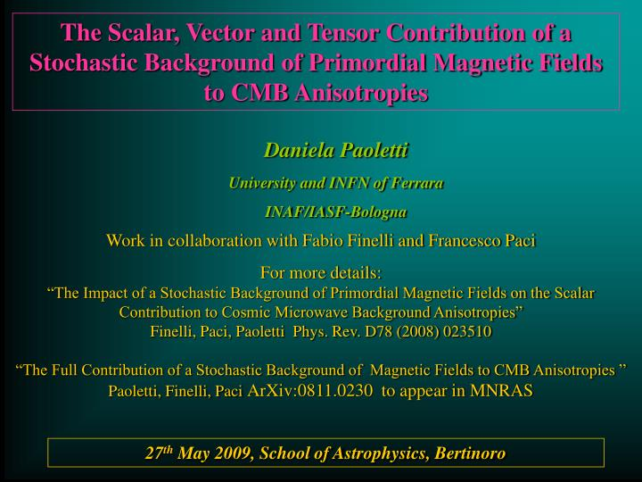 The Scalar, Vector and Tensor Contribution of a Stochastic Background of Primordial Magnetic Fields ...