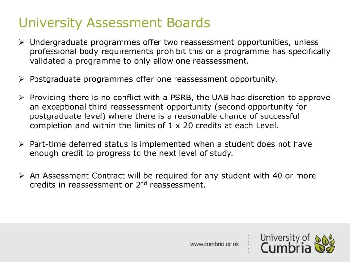 University Assessment Boards