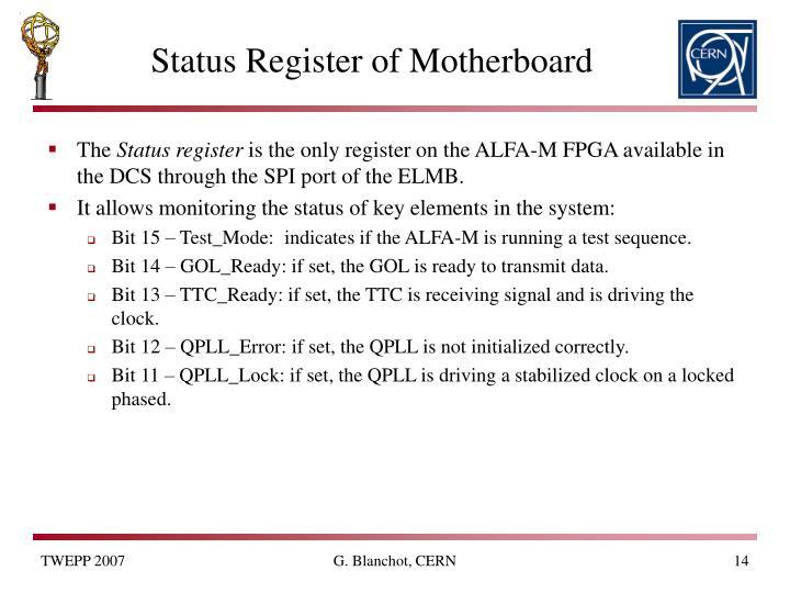 Status Register of Motherboard