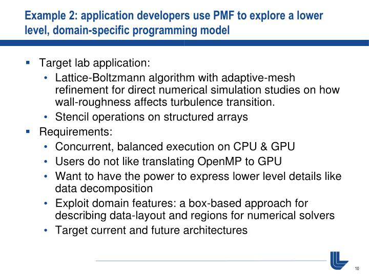 Example 2: application developers use PMF to explore a lower level, domain-specific programming model