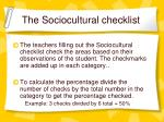 the sociocultural checklist
