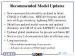 recommended model updates