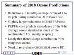summary of 2018 ozone predictions