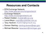 resources and contacts