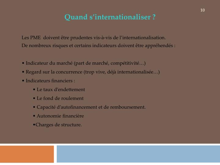 Quand s'internationaliser ?
